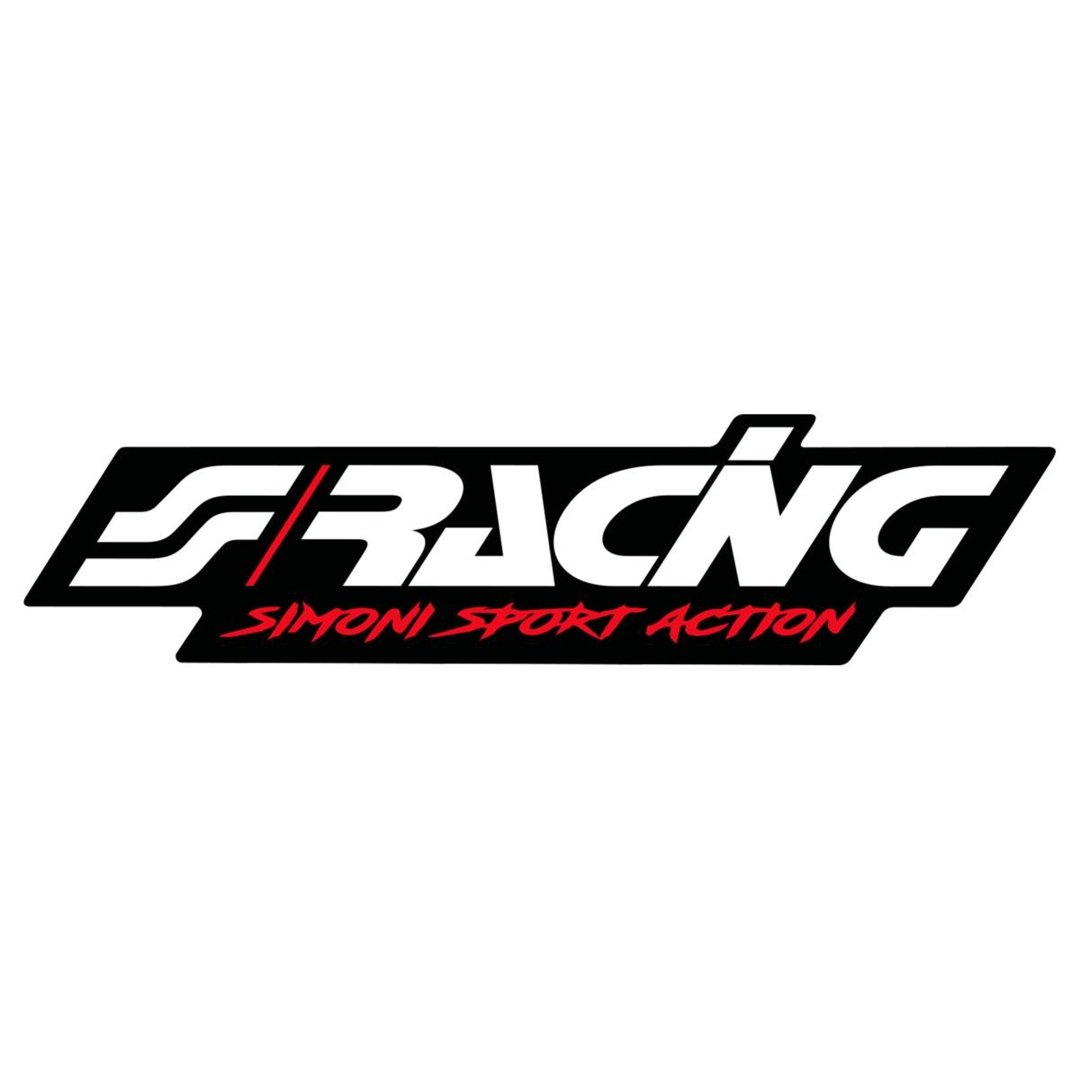 Sticker logo 2 120x29 mm black background adhesive simoni racing